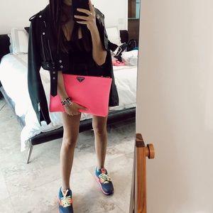 Prada Nylon Neon Pink Clutch